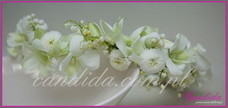 wianki komunijne z kwiatów 44, wianek komunijny ze storczykami, stokrotkami, konwaliami