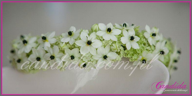 wianki komunijne z kwiatów 43, wianek komunijny z kaliny i ornitogalum