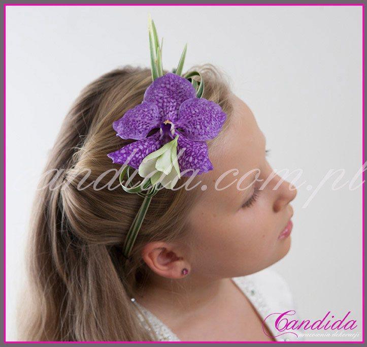 opaski komunijne z kwiatów 36, opaska komunijna ze storczykiem, wianek komunijny