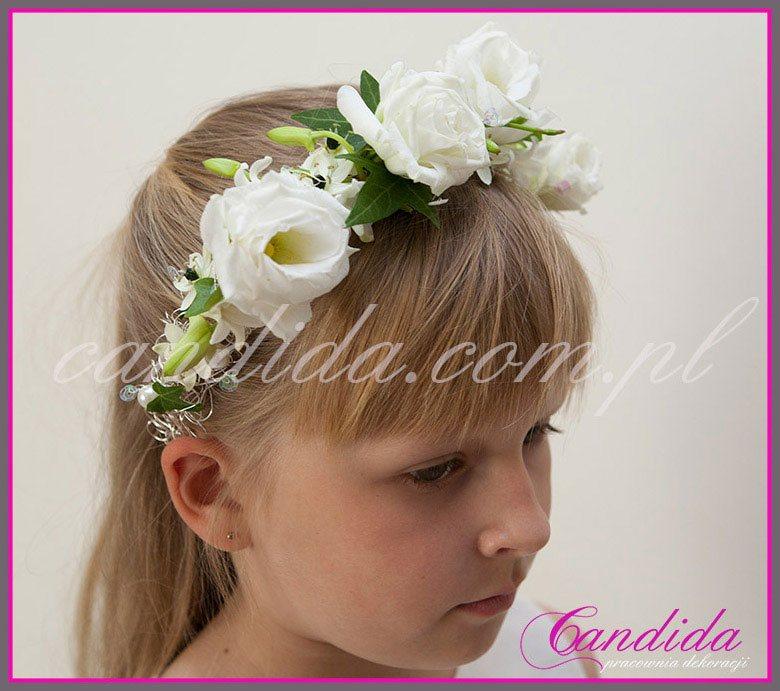 wianki komunijne z żywych  kwiatów 17, wianek komunijny z eustomy, hiacynta i ornitogalum