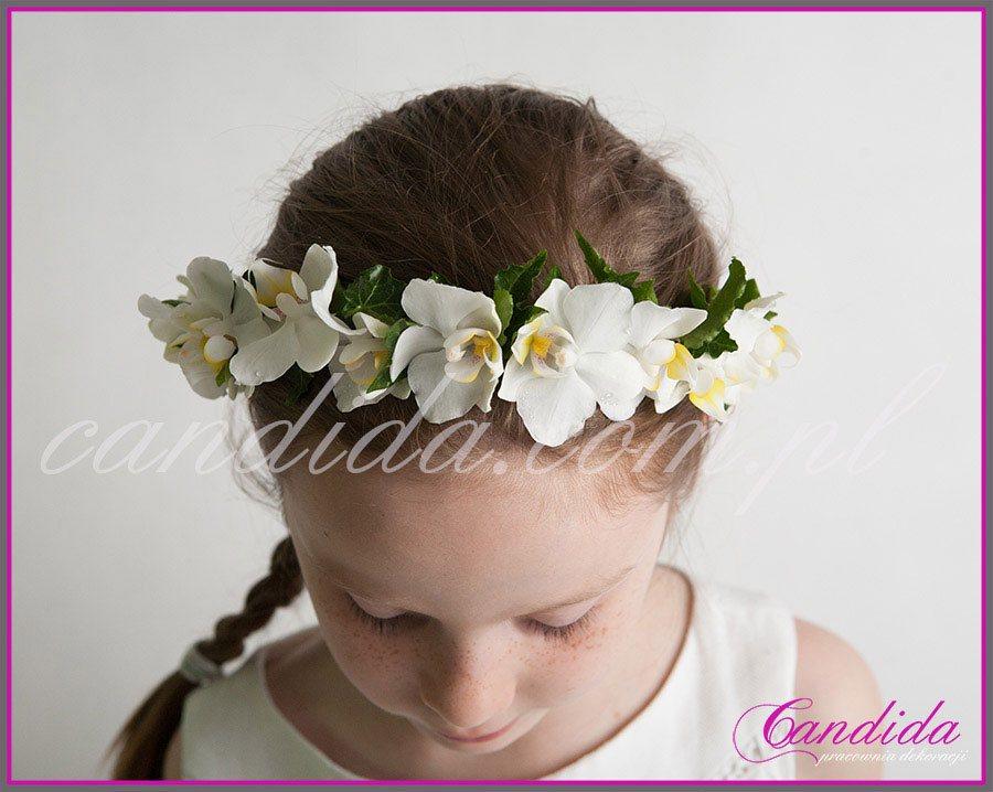 wianki komunijne z kwiatów 15, wianek komunijny ze storczyka i hedery