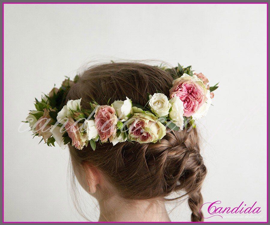 wianki komunijne z żywych kwiatów 2, wianek komunijny z róż gałązkowych